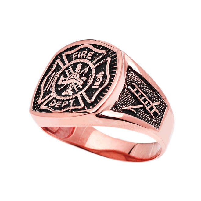 Bold Rose Gold Fire Department Maltese Cross Ring