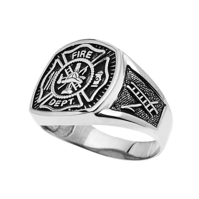 Sterling Silver Fire Department Maltese Cross Bold Ring