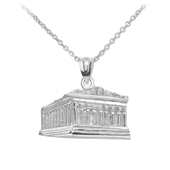 Sterling Silver Parthenon In Acropolis Greece Pendant Necklace