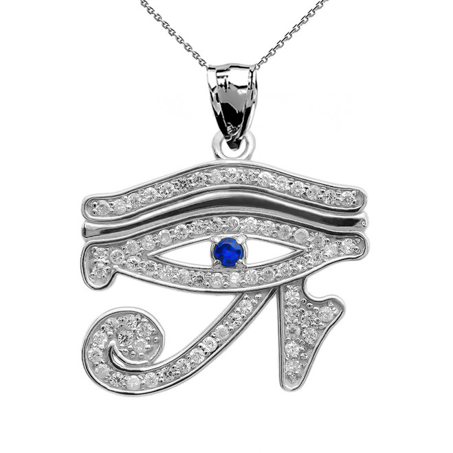 Eye of Horus White Gold CZ Pendant Necklace