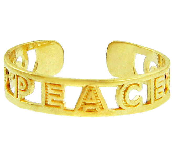 """Yellow Gold """"PEACE"""" Toe Ring"""