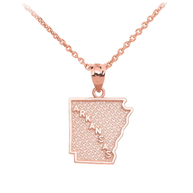 Rose Gold Arkansas State Map Pendant Necklace