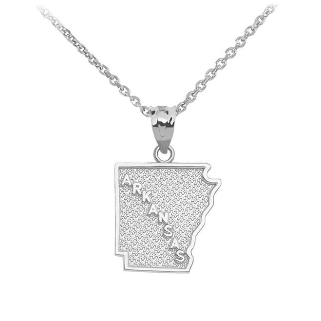 Sterling Silver Arkansas State Map Pendant Necklace