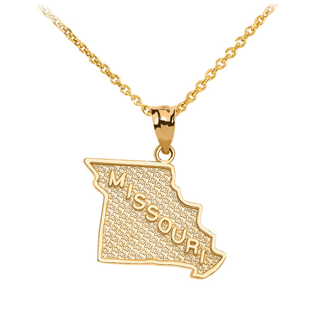 Yellow Gold Missouri State Map Pendant Necklace