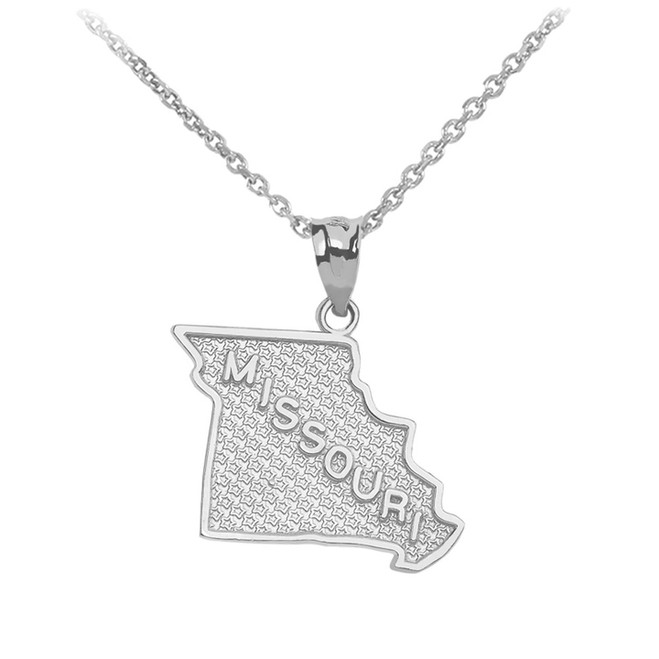 Sterling Silver Missouri State Map Pendant Necklace