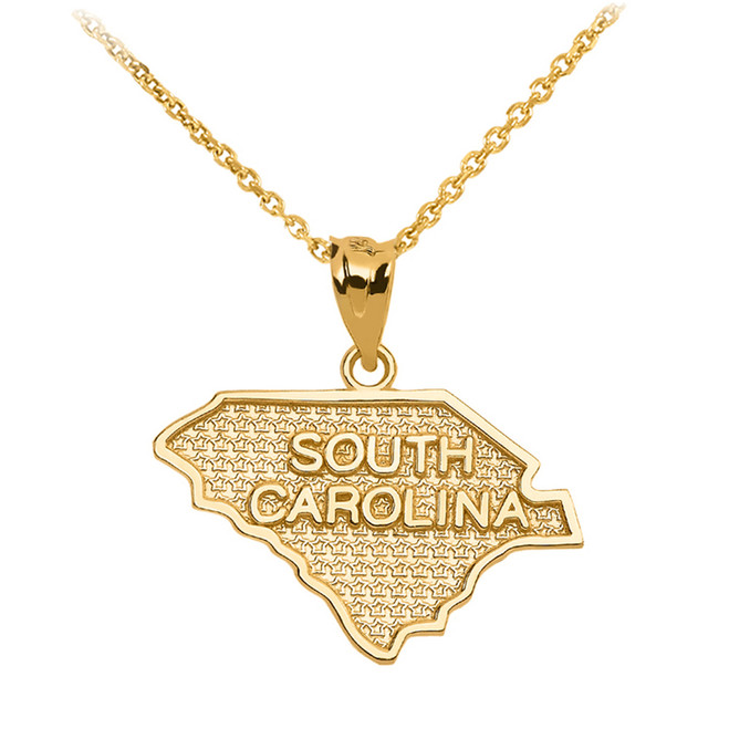 Yellow Gold South Carolina State Map Pendant Necklace
