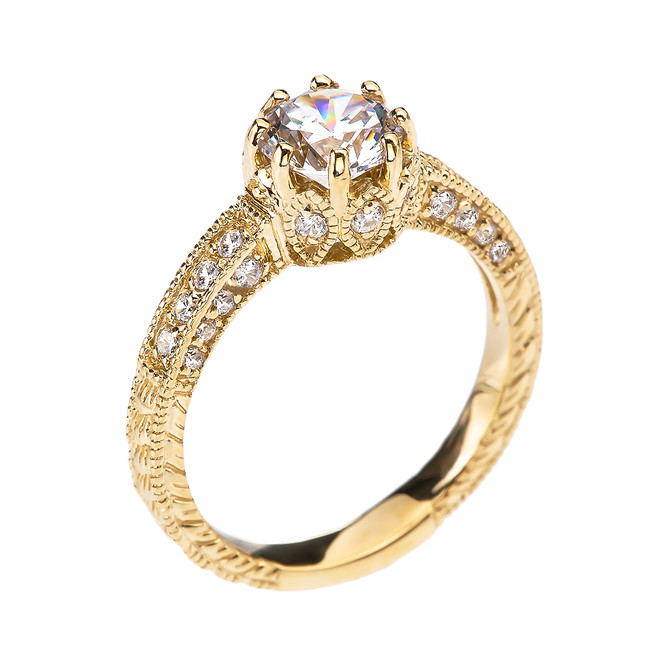 Art Deco Diamond Yellow Gold Engagement and Proposal Ring with 1 Carat White Topaz Centerstone