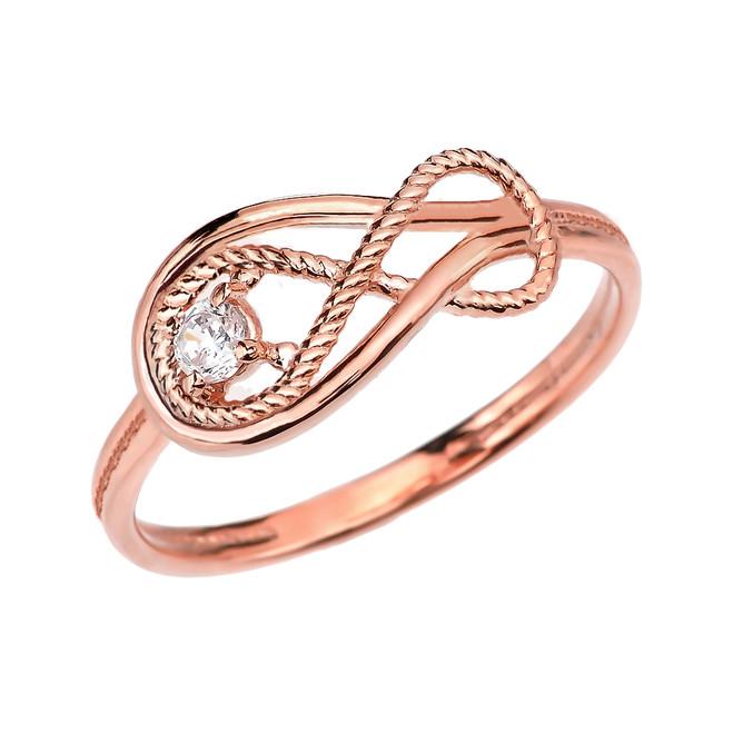 Diamond Rope Infinity Rose Gold Ring
