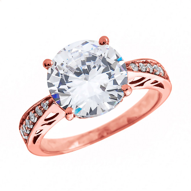 Diamond Rose Gold Engagement and Proposal Ring With 4 Carat White Topaz Centerstone