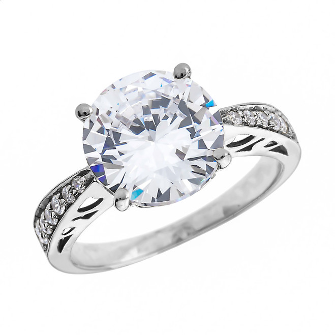 Diamond White Gold Engagement and Proposal Ring With 4 Carat White Topaz Centerstone