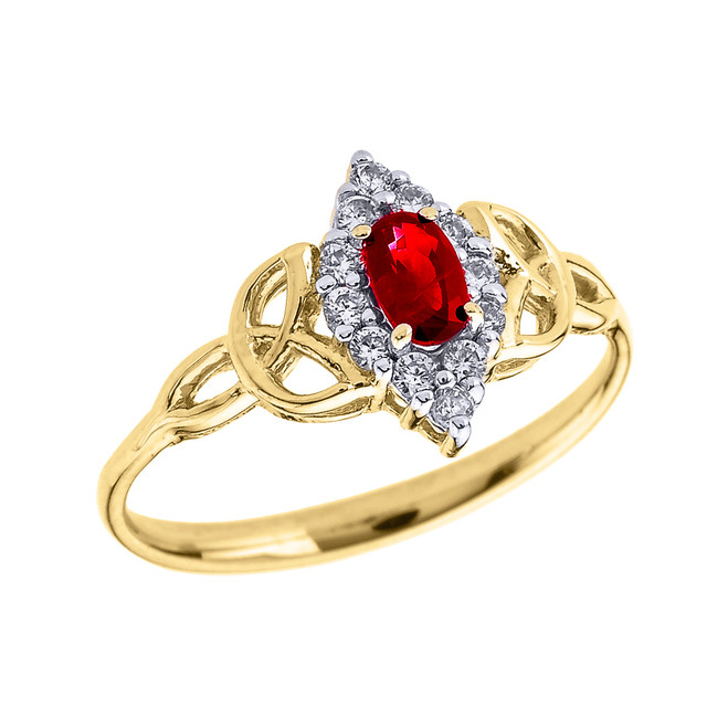 Yellow Gold Diamond and Oval Ruby Trinity Knot Proposal Ring