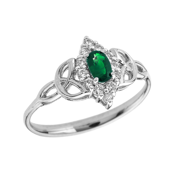 White Gold Diamond and Oval Emerald Trinity Knot Proposal Ring