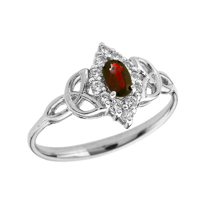 White Gold Diamond and Oval Garnet Trinity Knot Proposal Ring