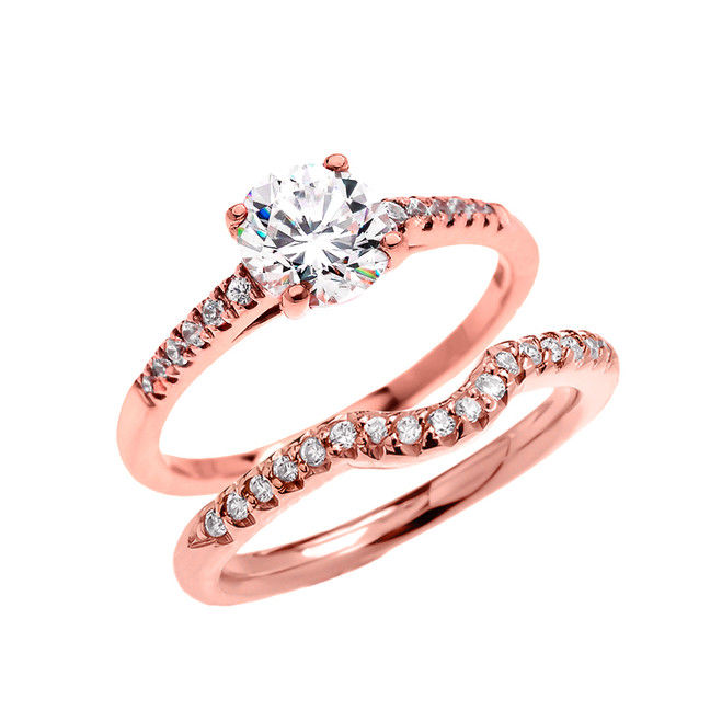 Rose Gold Dainty Cubic Zirconia Solitaire Wedding Ring Set