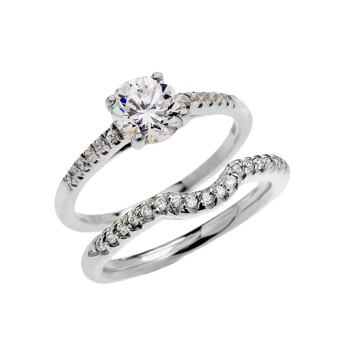 White Gold Dainty Cubic Zirconia Solitaire Wedding Ring Set