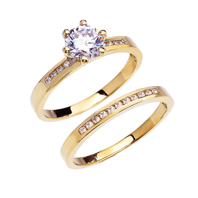Diamond Channel-Set Yellow Gold Engagement And Wedding Ring Set With 1 Carat White Topaz Center stone