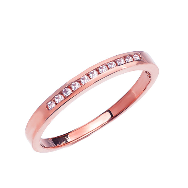 Diamond Channel-Set Rose Gold Wedding Band
