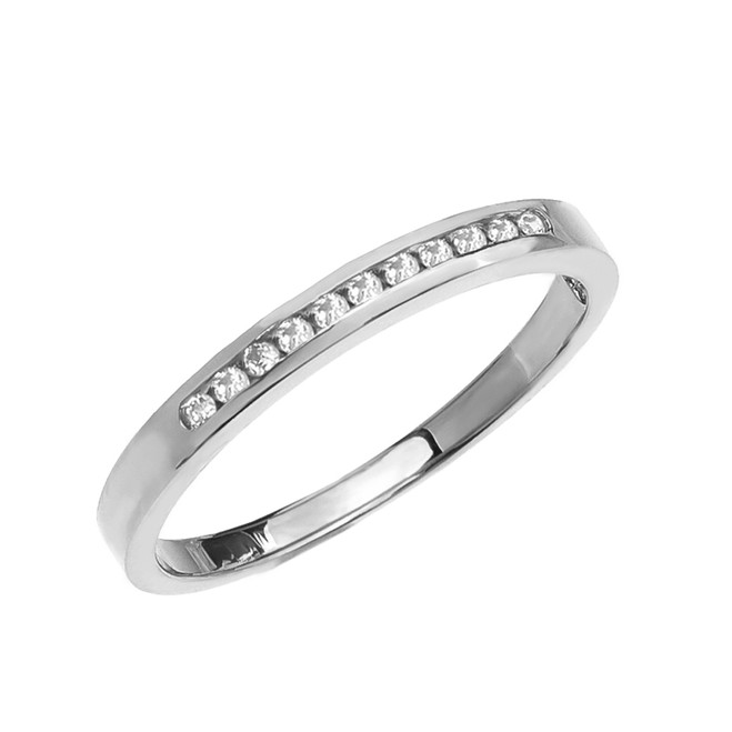 Diamond Channel-Set White Gold Wedding Band