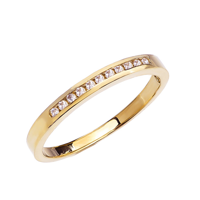 Diamond Channel-Set Yellow Gold Wedding Band