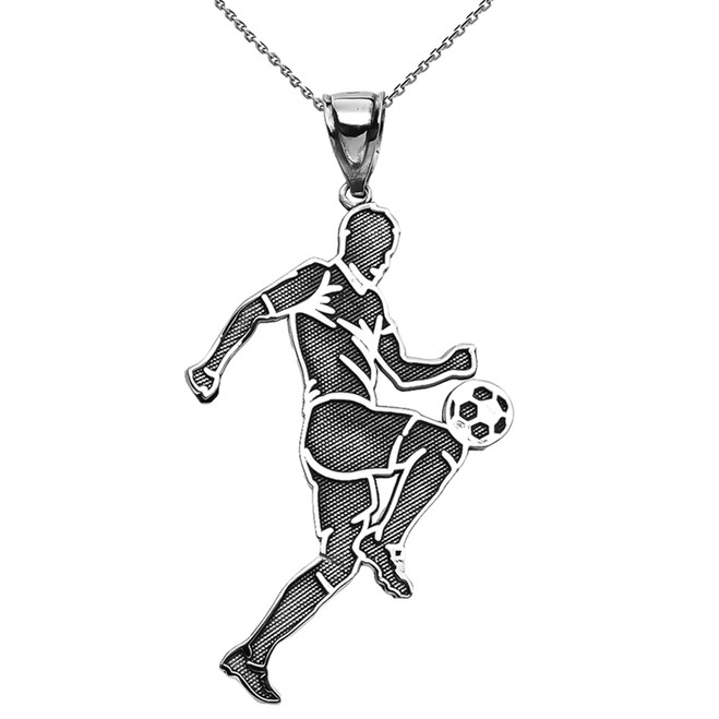 Soccer Player Sports Sterling Silver Pendant Necklace
