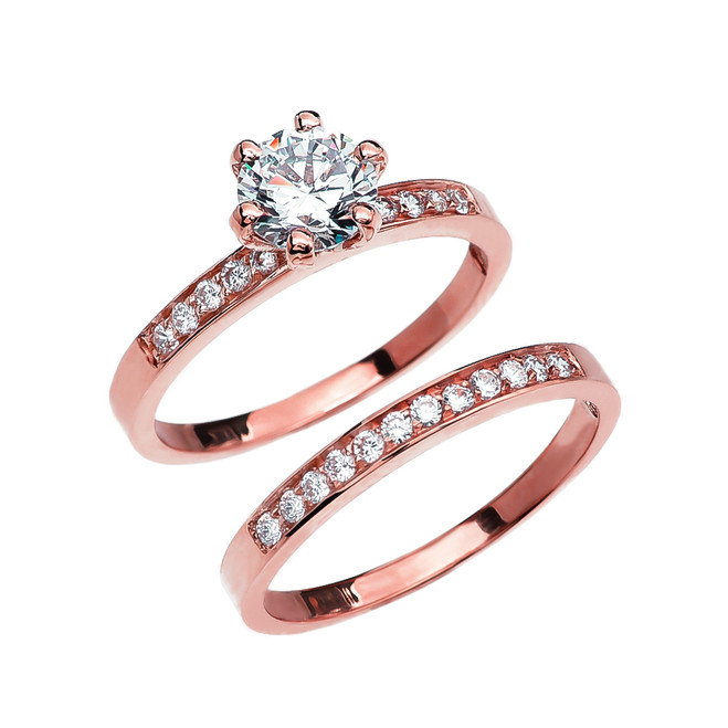 Diamond Rose Gold Engagement And Wedding Solitaire Ring Set With 1 Carat White Topaz Center stone