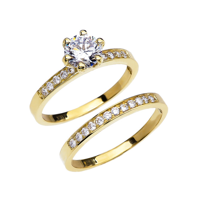 Diamond Yellow Gold Engagement And Wedding Solitaire Ring Set With 1 Carat White Topaz Center stone