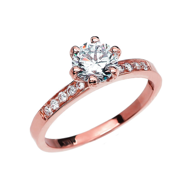 Diamond Rose Gold Solitaire Engagement Ring With 1 Carat White Topaz Center stone