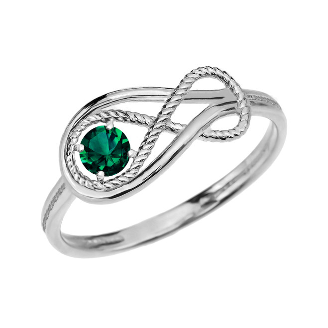 Emerald Rope Infinity White Gold Ring