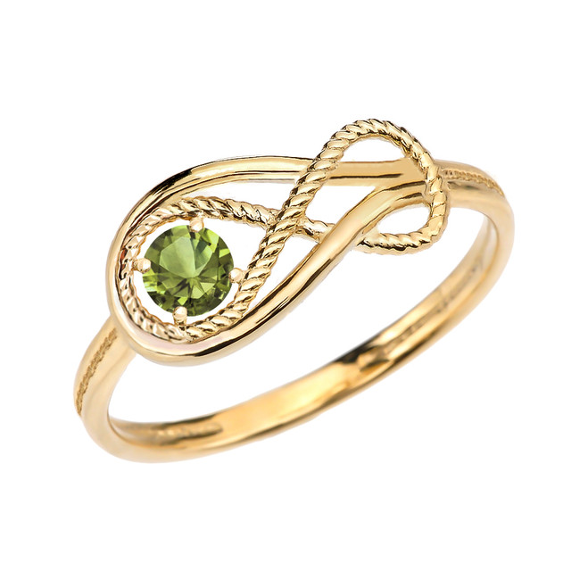 Peridot Rope Infinity Yellow Gold Ring