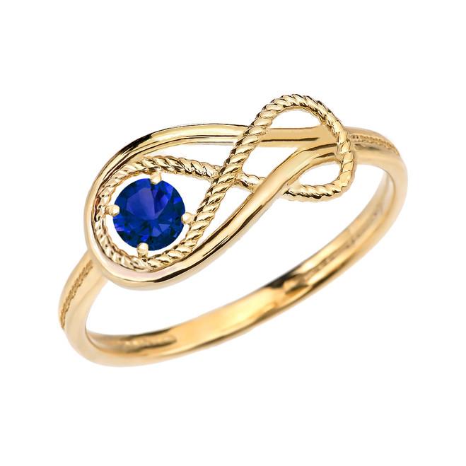 Sapphire Rope Infinity Yellow Gold Ring