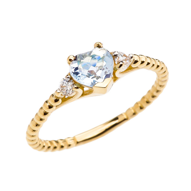 Aquamarine Solitaire Heart And White Topaz Yellow Gold Beaded Band Promise Ring
