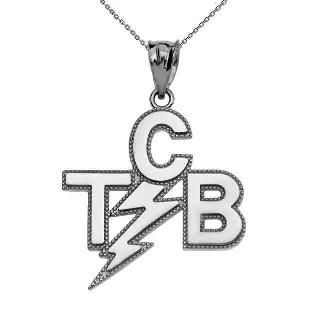 Sterling Silver Taking Care of Business In A Flash (TCB) Pendant Necklace