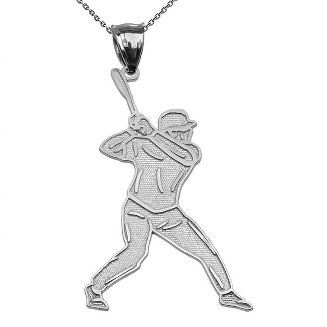 Baseball Player Sports White Gold Pendant Necklace