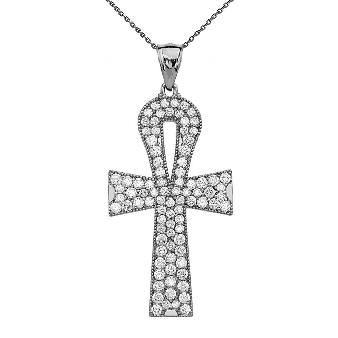 Sterling Silver 5 Carat Cubic Zirconia Ankh Cross Pendant Necklace