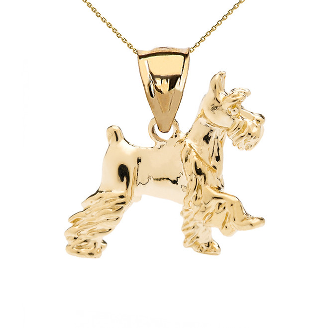 Yellow Gold Schnauzer Pendant Necklace