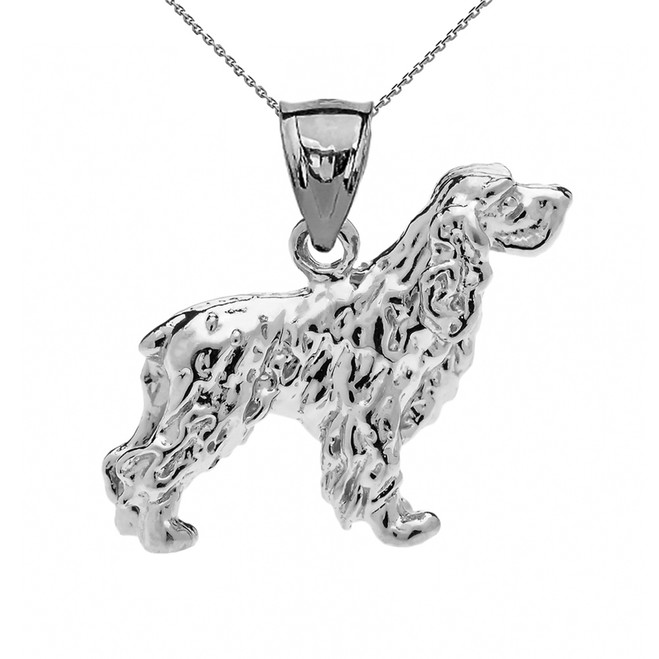 Sterling Silver Cocker Spaniel Pendant Necklace