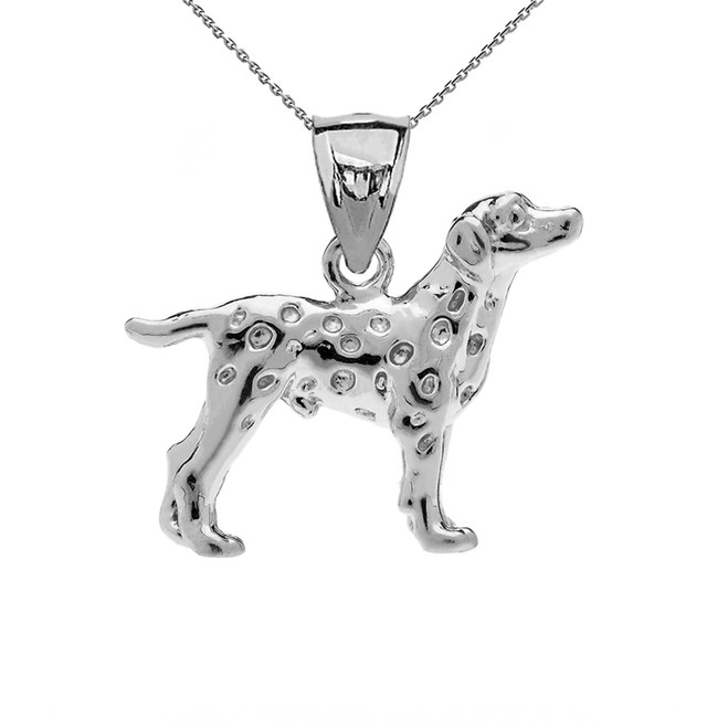 Sterling Silver Dalmatian Pendant Necklace