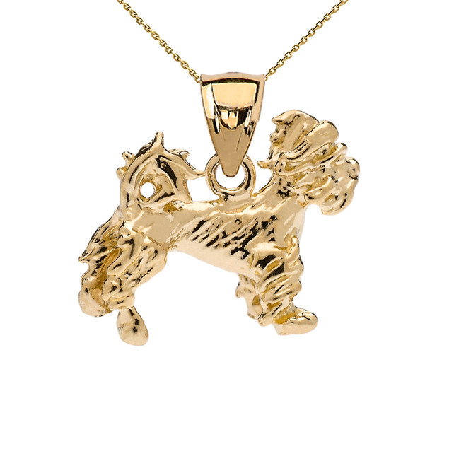 Yellow Gold Terrier Pendant Necklace