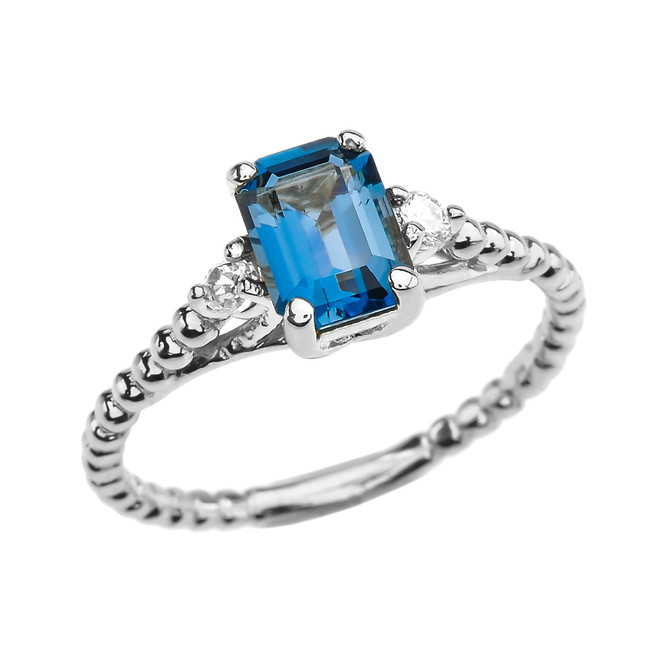 1.5 Carat London Blue Topaz Solitaire White Gold Beaded Ring With White Topaz Sidestones