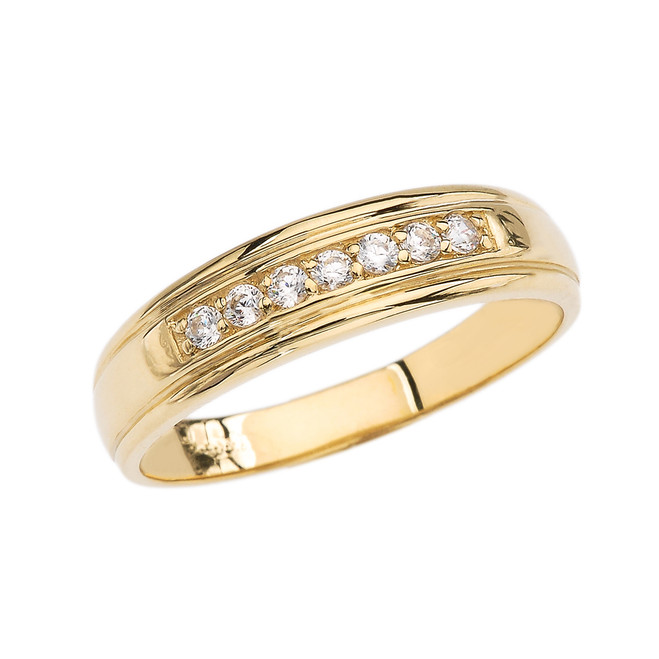 Diamond Men's Wedding Band in Yellow Gold