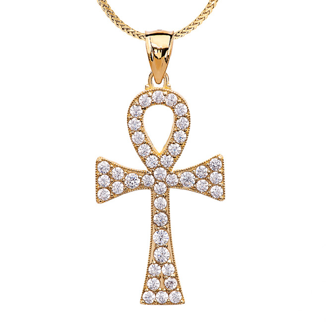 1.5 Carat Cubic Zirconia Yellow Gold Ankh Cross Pendant Necklace