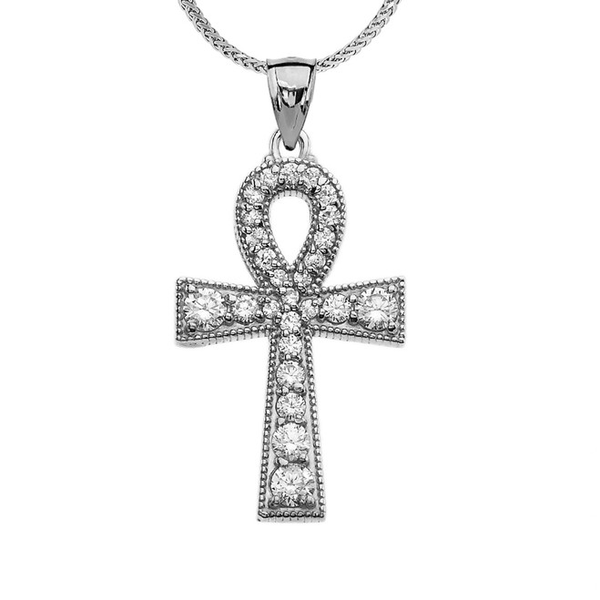 White Gold Ankh Cross Diamond Pendant Necklace