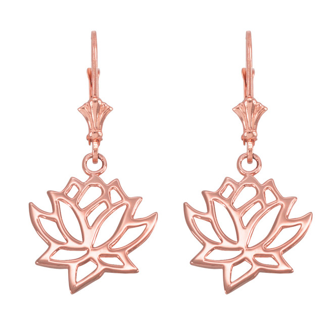 14K Rose Gold Lotus Flower Leverback Earrings