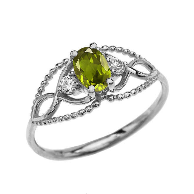 Elegant Beaded Solitaire Ring With Peridot Centerstone and White Topaz in White Gold