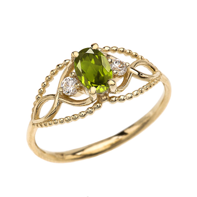 Elegant Beaded Solitaire Ring With Peridot Centerstone and White Topaz in Yellow Gold