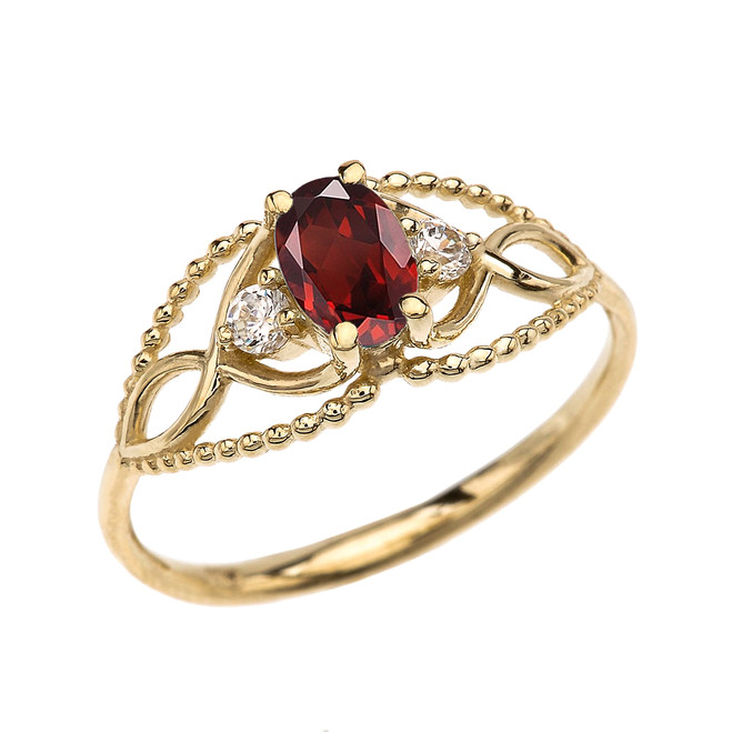 Elegant Beaded Solitaire Ring With Garnet Centerstone and White Topaz in Yellow Gold