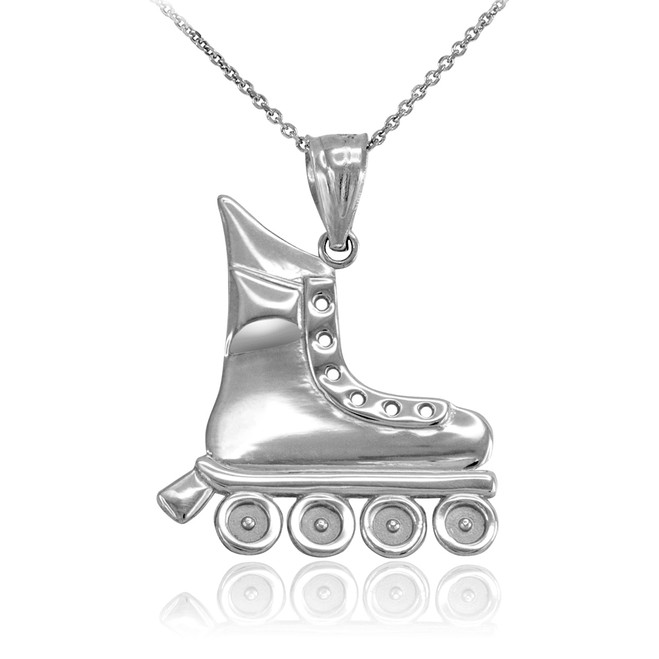 White Gold Roller Skates Pendant Necklace