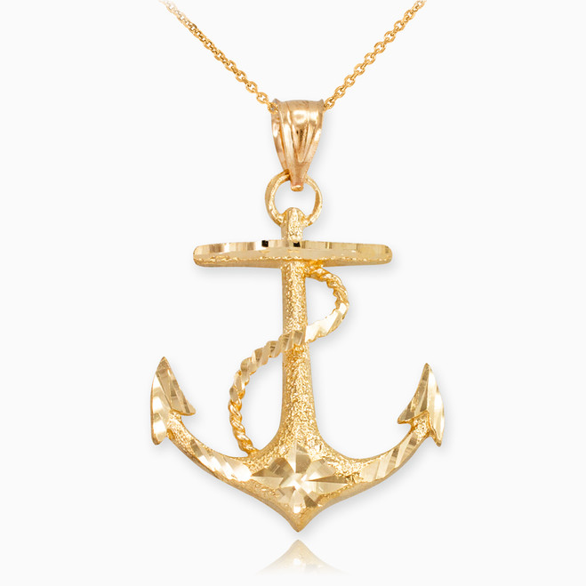 Textured Yellow Gold Mariner Anchor Pendant Necklace