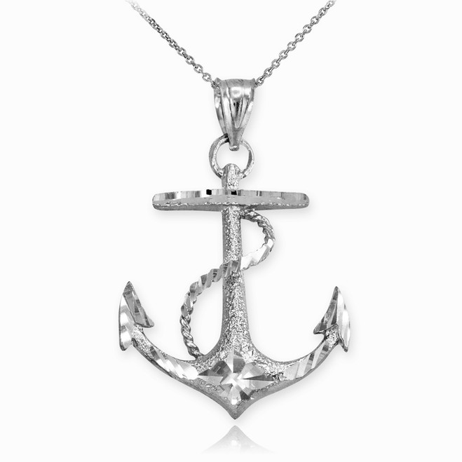 Textured Sterling Silver Mariner Anchor Pendant Necklace