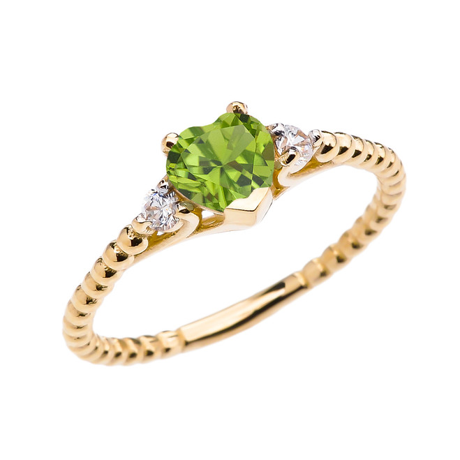 Peridot Solitaire Heart And White Topaz Yellow Gold Beaded Band Promise Ring
